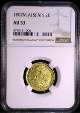 Kingdom of Spain 1807 M AI Gold 2 Escudos NGC AU-53* Sharp Lustrous Looks Better