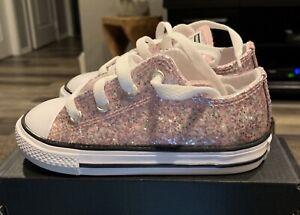 Converse  All Star Glitter Ctas Ox  764708C Infant/ Toddler Girl  -NIB Size 8