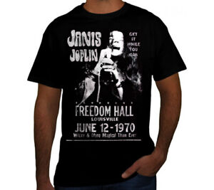 JANIS JOPLIN PUNK ROCK BAND Black T Shirt