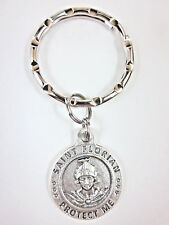 St Florian / Firefighter Medal Italy Key Ring Gift Box & Prayer Card