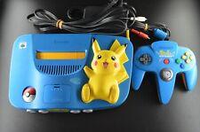 Complete Nintendo 64 Pikachu Special Edition Japan Console Blue NTSC-J