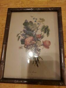 Vintage Framed J L Prevost Floral Print, # 501