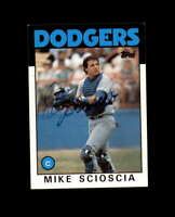 Mike Scioscia Hand Signed 1986 Topps Los Angeles Dodgers Autograph