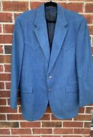 Circle S Dallas Texas Western Blazer 2 Button Blue Cotton Size 46L Suit Jacket