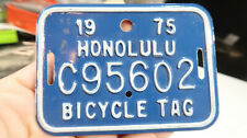 w 1975 Honolulu Hawaii Bicycle Tag Tin c956602