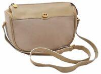 Authentic GUCCI Shoulder Bag Leather Beige B5867