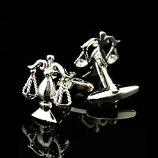 CLASSIC SILVER TONE LEGAL SCALES OF JUSTICE CUFFLINKS LAWYER CHRISTMAS VALENTINE