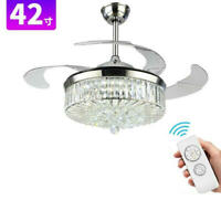 "Modern 42""/44"" Crystal LED Dimming Chandelier Remote Invisible Ceiling Fan Light"