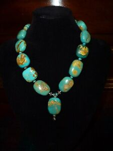 Large natural Turquoise Crystal Stone Beads necklace white metal Nepalese Indian