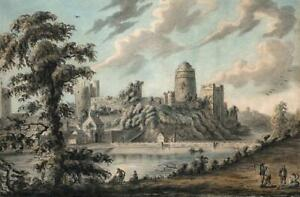 VIEW OF PEMBROKE CASTLE Watercolour Painting VANDELEUR 1791 - AFTER SANDBY