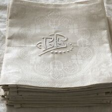 "12 Unused Antique French Damask Linen Napkins ""BB"" Mono Hand Embroidery 22""X21"""