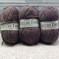 Plymouth Yarn Encore Tweed 461 Dusty Purple Skeins Lot Of 3 Wool Acrylic Rayon