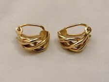 Vintage 9ct 375 9k Clip On Earrings woven Style yellow gold