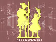 Pegatina Don Quijote y Sancho Panza 3D Relieve - Color Amarillo Limon