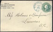 US 1875 Sc U165 FANCY CANCEL NEW BERRY SC IN BLUE AUG 4 1875 TO LAURENS SC REDUC