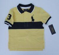 NWT Ralph Lauren Boys S/S Big Pony Chest Stripe Mesh Polo Shirt Sz 14/16 18/20
