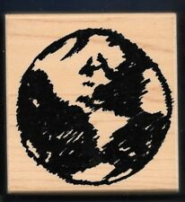 EARTH PLANET GLOBE AMERICA Limited Edition CLUB SCRAP 2000 wood RUBBER STAMP