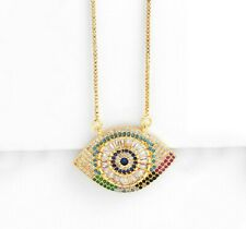 Hamsa Hand Evil Eye Jewish Luck Charm Pendant & Necklace in 18K Gold Plated