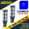 2 ERROR FREE CANBUS 501 13 SMD LED SIDE INDICATOR BULBS BLUE XENON T10 W5W 194