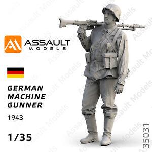 1/35 - German Machine Gunner - Resin Figure, Assault Models #35031