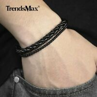 Mens Double Chain Bracelet Stainless Steel Black Tone Wheat + Box Link 8/9/10""