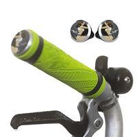 Silicone M/H/S Grips + Aluminium Handlebar Plugs for BROMPTON Green