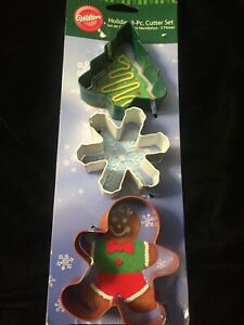 2308-1350- Wilton Snowflake, Tree and Gingerbread Boy 3 Piece Cookie Cutter Set
