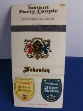 CANADA WHISKY SHENLEY GOLD SILVER WEDDING BOTTLE MATCHBOOK VINTAGE ADVERTISING