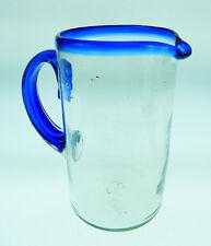 Mexican Glass Pitcher, hand blown, blue rim, 2+ quarts, 65 oz, straight design