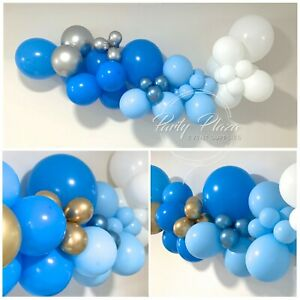 Balloon Garland Kit DIY - 1.7m - Blue White with Gold/Silver - Boy Baby Shower