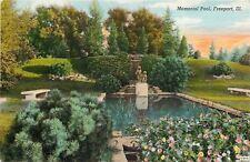 Freeport Illinois~Memorial Pool~Statue~Stone Benches~Flower Garden~1940 Linen