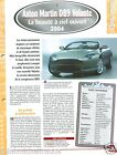 Aston Martin DB9 Volante Cabriolet V12 2004 UK Car Auto Voiture FICHE FRANCE