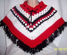 Poncho Neck Warmer Red White & Black: Soft Warm - Unique Handmade