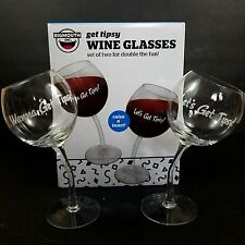Funny Wine Glasses Tipsy Leaning Novelty Gift Set of 2 Bigmouth Hand Blown