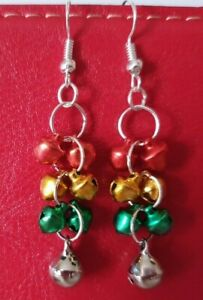 Multi-Coloured Christmas Jingly Bells Earrings Red-Gold-Green-Silver Gift Bagged