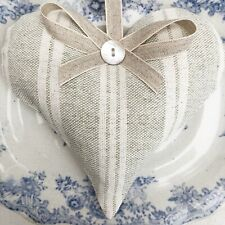 1 SUSIE WATSON GREY IVORY CAMBRIDGE STRIPE Lavender Filled Fabric Heart