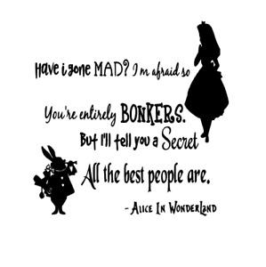 Alice In Wonderland Decal vinyl sticker Ikea Ribba Box Frame Mad Hatter DIY Gift