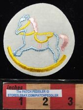 Baby Children ROCKING HORSE PATCH ~ BLUE HORSE WITH PINK TAIL 5DA8