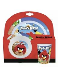 Kids ANGRY BIRDS 5 pc Dinner set Dining Breakfast Set Plate Bowl Tumbler Cutlery
