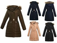 Ladies Belted Faux Fur Hood Hooded Long Parka Jacket Quilted Winter Coat