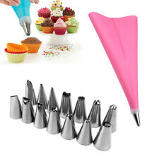 16 Pcs/Set Silicone Icing Piping Cream Pastry Bag +14PCS Stainless Steel Nozzle