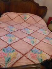 Beautiful Pink Flowered Chenille Bedspread 88 by 98---sr48