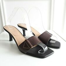 NINE WEST Retro Mid Century Brown Leather Open Toe Low Heel Sandals 60s Sz 7 /41