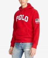 Polo Ralph Lauren Men's RED Sweatshirt Fleece Pullover Hoodie USA Patch XL NWT