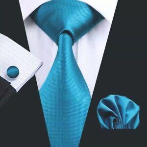 ITALIAN DESIGNER Turquoise SILK TIE, HANKY & CUFFLINKS