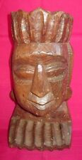 Indian Antique Hand Carved Wooden Male Bust Figurine