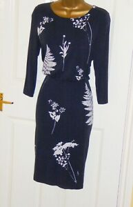 Phase Eight Navy white floral leaf print stretch jersey wiggle dress size 10