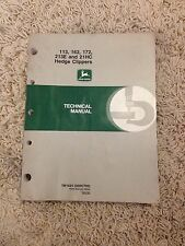 John Deere Technical Manual for 113, 162, 172, 213E and 21HC Hedge Clipperss