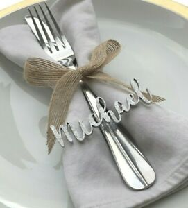 laser cut place names, wedding place cards, wedding place settings, wedding name