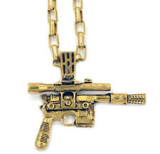"NEW Star Wars Han Solo Gold Blaster Men's Pendant 30"" Necklace by Han Cholo"